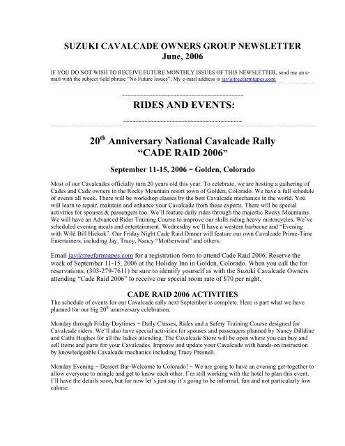 SUZUKI CAVALCADE OWNERS GROUP NEWSLETTER June, 2006