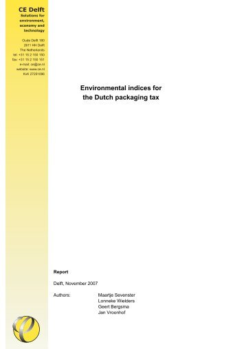 Environmental indices for the Dutch packaging tax