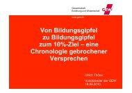 Von Bildungsgipfel zu Bildungsgipfel zum 10%-Ziel - GEW - Berlin