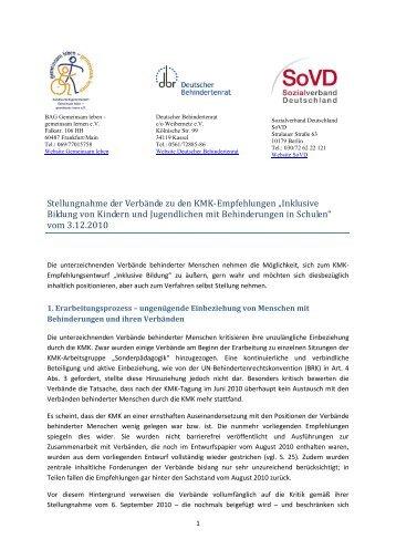 Stellungnahme der Verbände zu den KMK-Empfehlungen ... - GEW