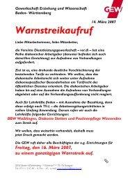 Warnstreikaufruf - Gewerkschaft Erziehung und Wissenschaft Baden ...