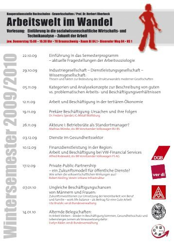 Wintersemester 2009/2010 - DGB Jugend Niedersachsen und Bremen