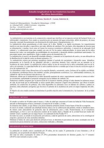Estudio longitudinal de los trastornos bucales de niños desnutridos