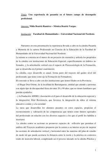 Nilda Beatriz Ramírez – Mónic - UNGS