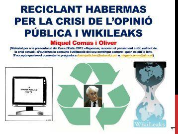 Miquel Comas: Reciclant Habermas per la crisi de - Universitat de ...