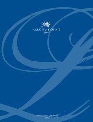 Informationen und Preise 2012 - Hotel Allgäu Sonne
