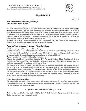 Elternbrief Nr. 2 - Gymnasium Fränkische Schweiz Ebermannstadt