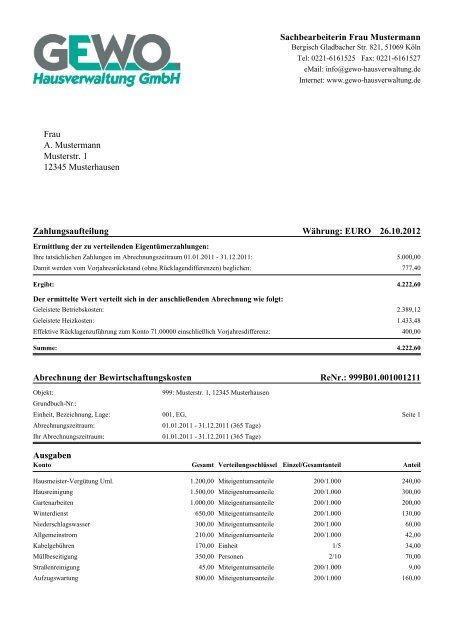 Abrechnung Et 2012 Muster Pdf Gewo Hausverwaltung Gmbh