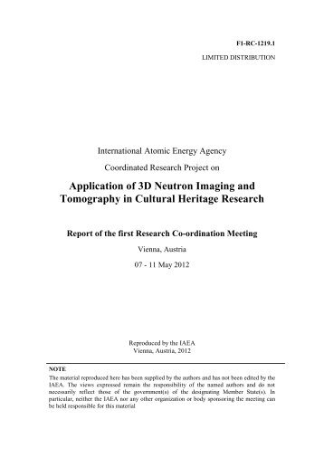 Meeting report (pdf) - Nuclear Sciences and Applications - IAEA