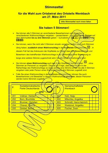 Stimmzettel - Gemeinde Weimar