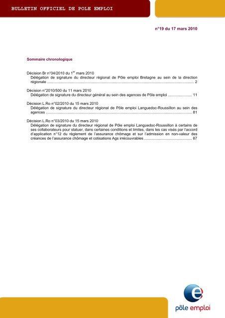 Télécharger le BO authentifié : BOPE n°2010-19 - Pôle emploi
