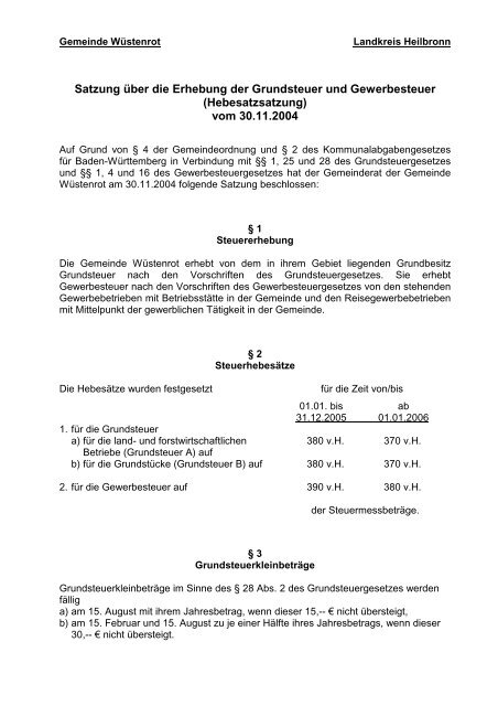 Hebesatzsatzung - Gemeinde Wüstenrot