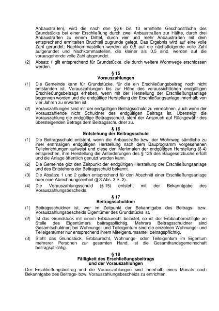 Satzung über die Erhebung von Erschließungsbeiträgen ...