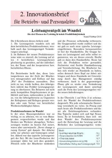 Leistungsentgelt im Wandel - G-ibs.de