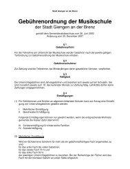 Gebührenordnung der Musikschule - Stadt Giengen