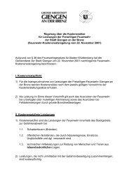 Regelung über die Kostenersätze für Leistungen ... - Stadt Giengen