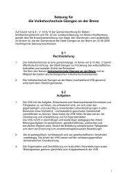 Satzung für die Volkshochschule Giengen an der ... - Stadt Giengen
