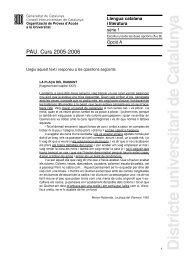 PAU. Examen Llengua catalana i literatura - laGalera.Text