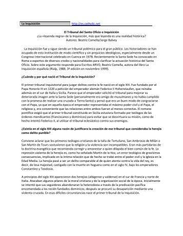 La Inquisición http://es.catholic.net El Tribunal del Santo Oficio o ...