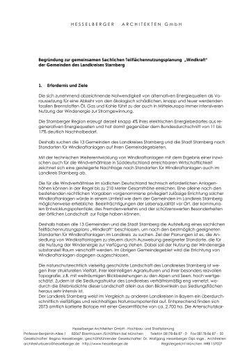HESSELBERGER ARCHITEKTEN GmbH Begründung zur ...