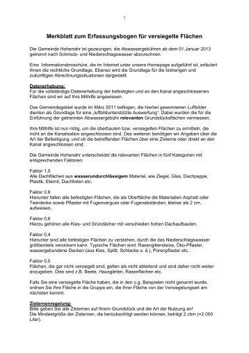 Merkblatt zum Erfassungsbogen für versiegelte Flächen