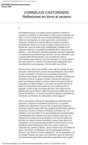 CORNELIUS CASTORIADIS. Reflexiones en torno al racismo