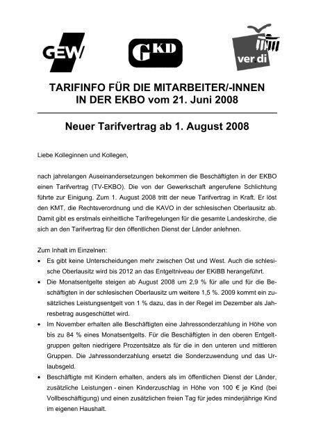 Tarifinfo 20.06.2008 - GKD - Gewerkschaft Kirche und Diakonie