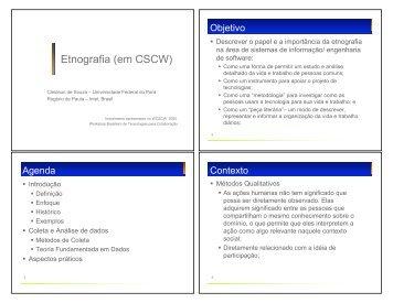 Etnografia (em CSCW) - Universidade Federal do Pará