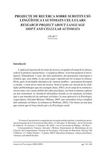 PrOJECTE DE rECErCA sOBrE sUBsTITUCIÓ lINGÜÍsTICA I ...