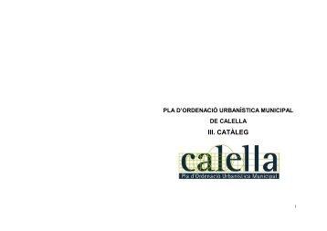Memòria i normativa del catàleg - Ajuntament de Calella
