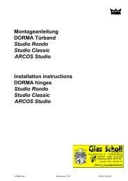 Montageanleitung DORMA Türband Studio Ronde Classic ARCOS