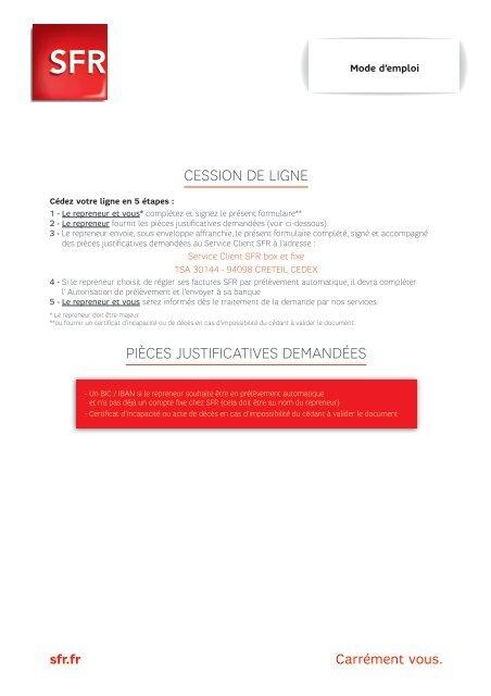 Formulaire Changement Titulaire Adsl