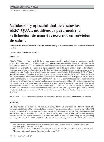 Validación y aplicabilidad de encuestas SERVQUAL ... - SciELO
