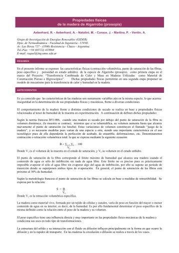 Propiedades físicas de la madera de Algarrobo (prosopis)