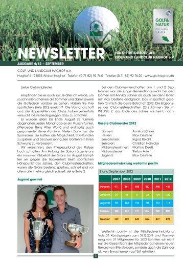 NEWSLETTER - Golf- und Landclub Haghof