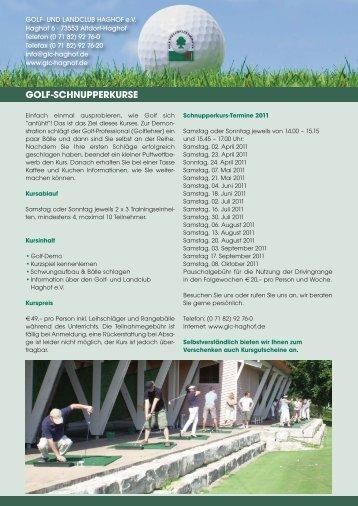 Kurse_2011 Flyer_Newsletter - Golf- und Landclub Haghof
