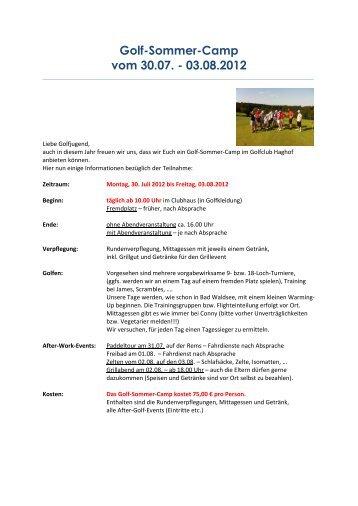 Golf-Sommer-Camp vom 30.07. - 03.08.2012 - Golf- und Landclub ...