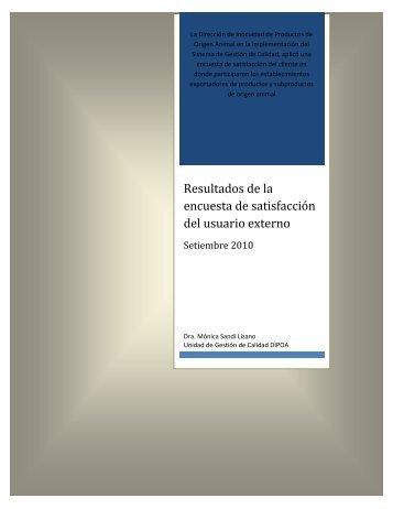 Resultados de encuesta de satisfacción del cliente externo - Senasa