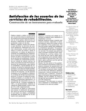 Satisfacción de los usuarios de los servicios de rehabilitación. - imss