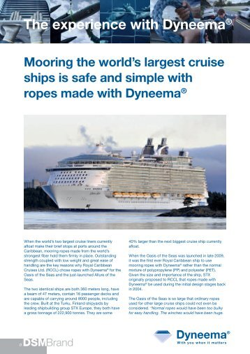 The experience with Dyneema® - Gleistein