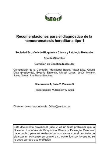 Recomendaciones para el diagnóstico de la hemocromatosis ...