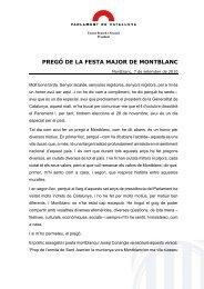 pregó de la festa major de montblanc - Parlament de Catalunya