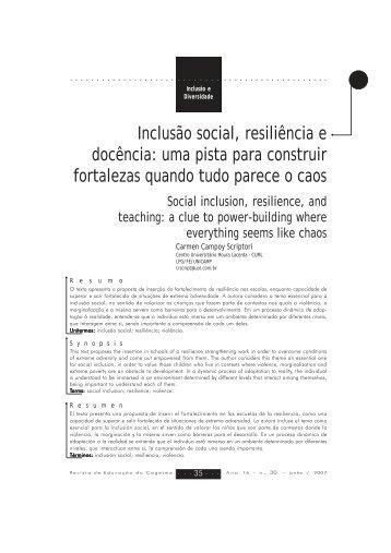 Inclusão social, resiliência e docência: uma pista para ... - COGEIME