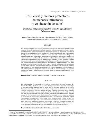 Resiliencia y factores protectores en menores infractores y en ...