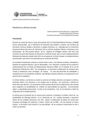 articulo resiliencia 45final2x - Universidad Alberto Hurtado