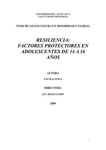 RESILIENCIA: FACTORES PROTECTORES EN ADOLESCENTES ...