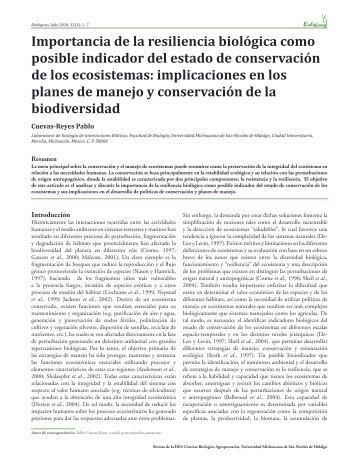 Importancia de la resiliencia biológica como posible indicador del ...