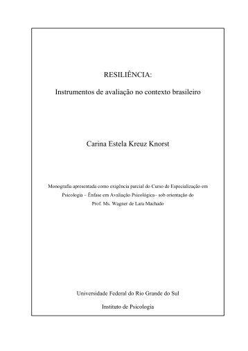 RESILIÊNCIA: Instrumentos de avaliação no contexto brasileiro ...