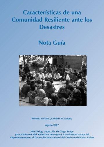 Características de una Comunidad Resiliente ante los Desastres ...