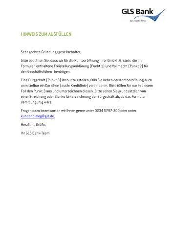 Freistellungserklärung Vollmacht Und Bürgschaft Für Gls Bank